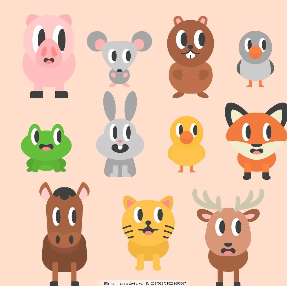 设计 自然 动物 卡通 平坦 可爱 平面设计 驯鹿 狐狸 搞笑 青蛙 兔子