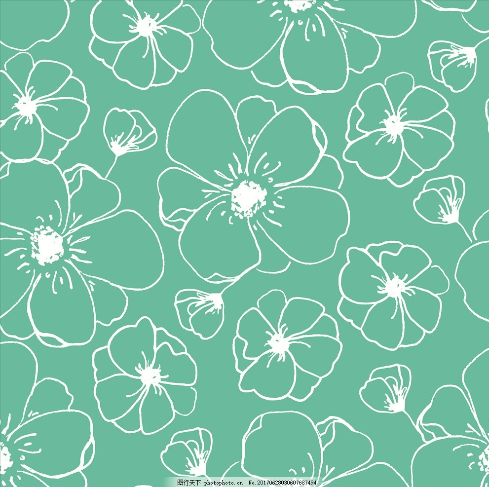 树叶 一朵花 线描花朵 手绘花卉 四方连续花卉 服装设计 植物花卉