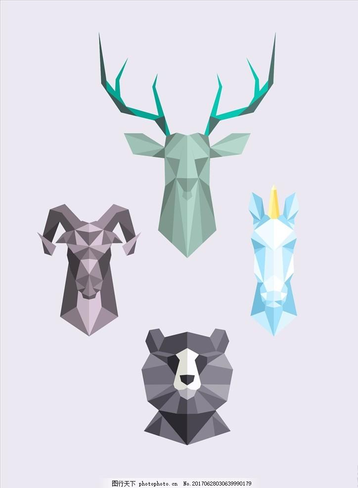 手绘动物头像拼图矢量图下载 男装设计 女装设计 箱包印花 男装印花