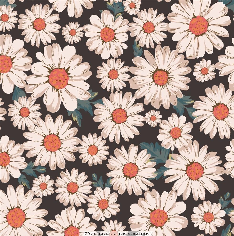 菊花手绘花朵花卉四方连续底纹
