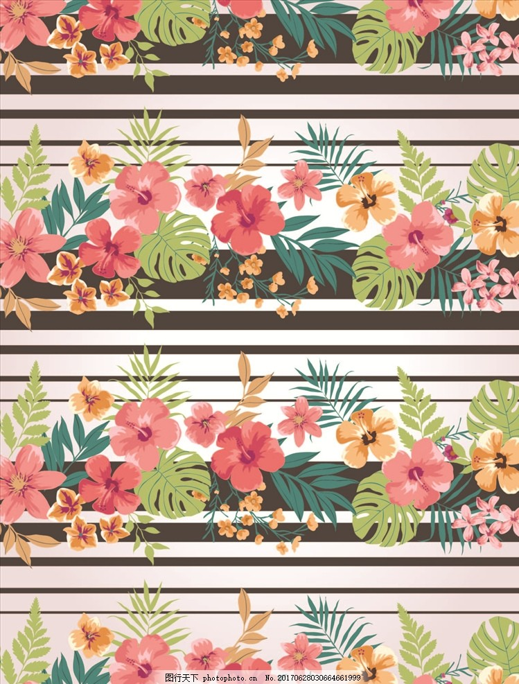 线描花朵 手绘花卉 四方连续花卉 服装设计 条纹 龟背竹 精品矢量图案