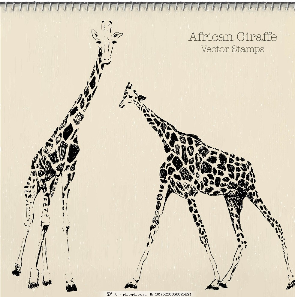 潮牌设计 面料印花 布料印花 贴纸图案 手绘动物 线描动物 素描动物