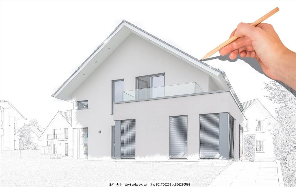 室内设计 设计图纸 建筑物 土木工程 土建 红色房顶 搭建中的房子