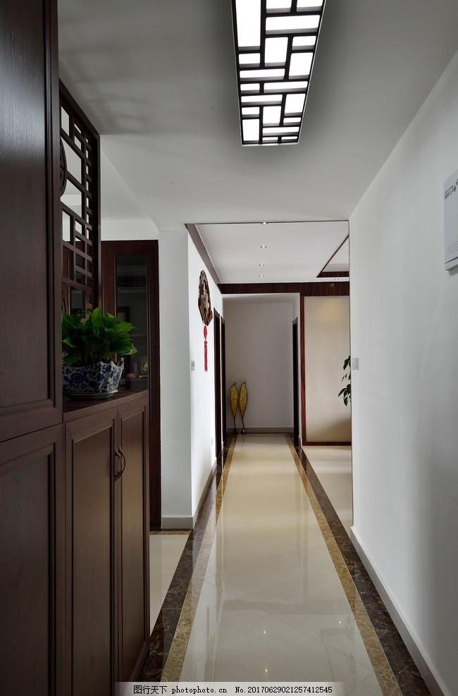 走廊过道效果图 玄关 过道 走廊 休息区 中式走廊 现代走廊 中式过道