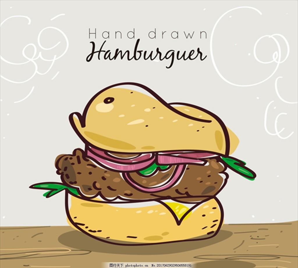 手绘洋葱汉堡的背景
