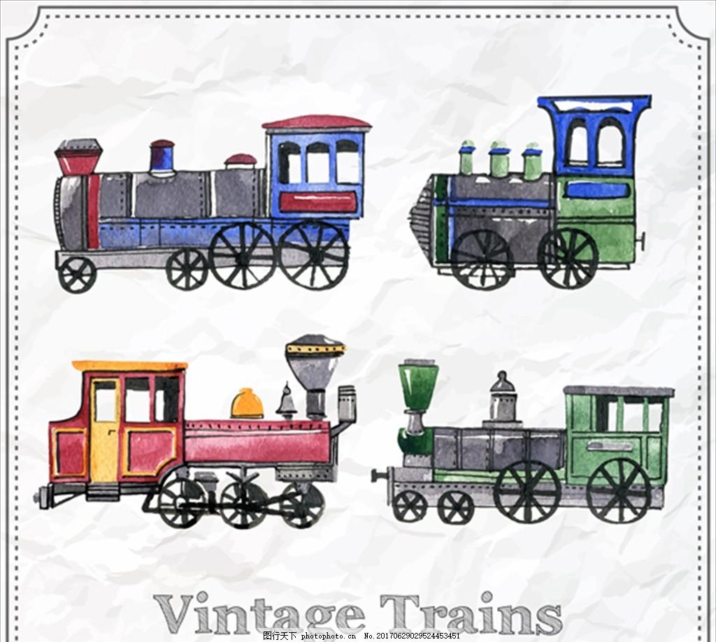 手绘水彩老火车集合 高铁动车 高速铁路 客运专线铁路 火车 铁路 铁路
