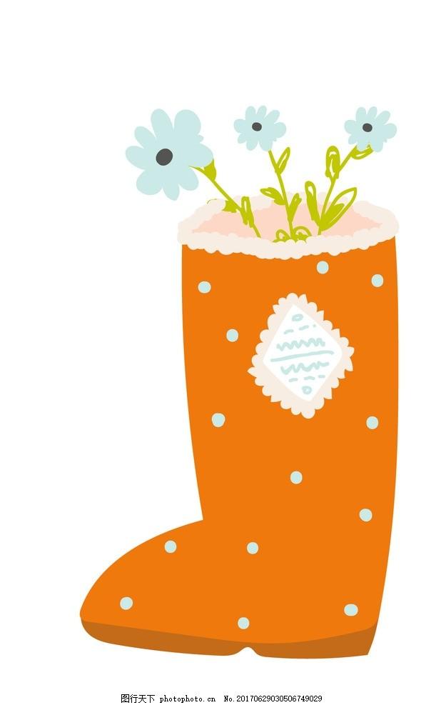 卡通雨靴 花朵 鞋子 动物插画 儿童绘本 儿童画画 卡通动物漫画