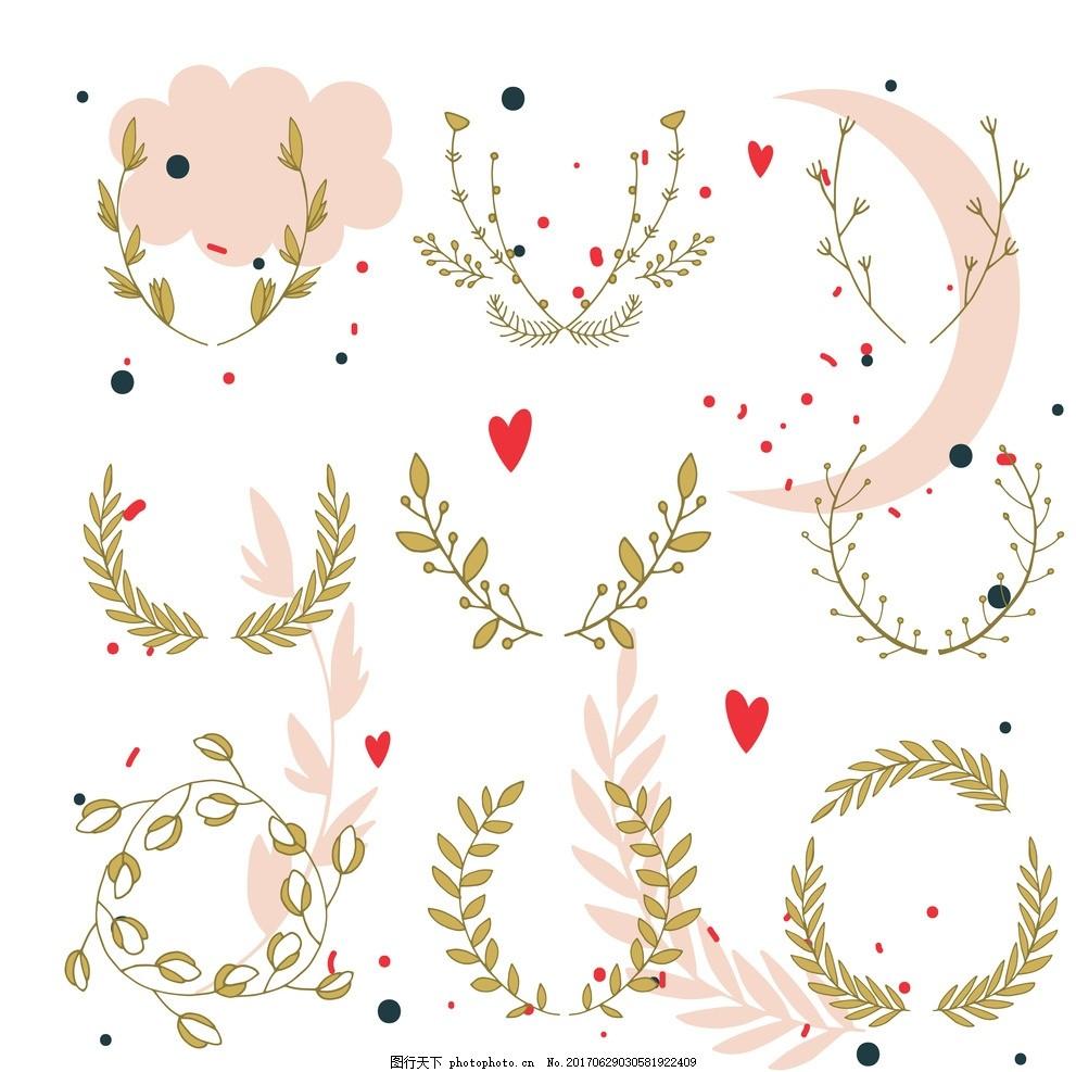 彩绘 花卉 矢量图 素材 水彩 清新 可爱 花朵 花环 美丽 漂亮 树叶