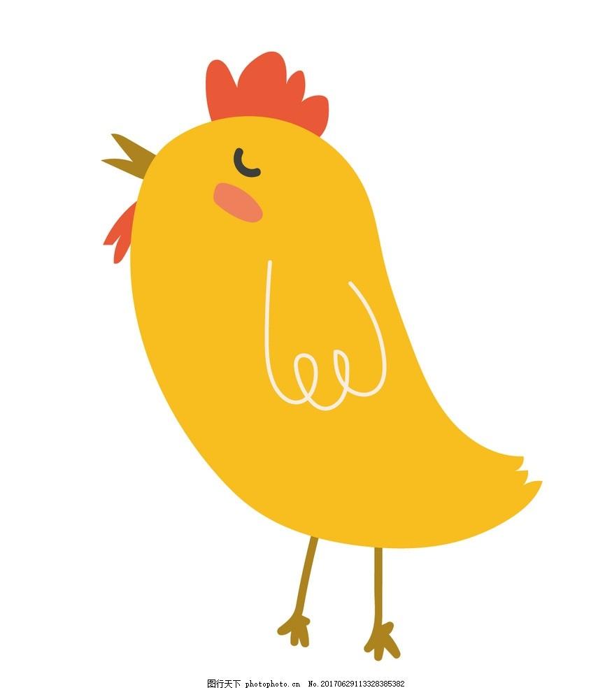 卡通小鸡 动物插画 儿童绘本 儿童画画 卡通动物漫画 儿童插画