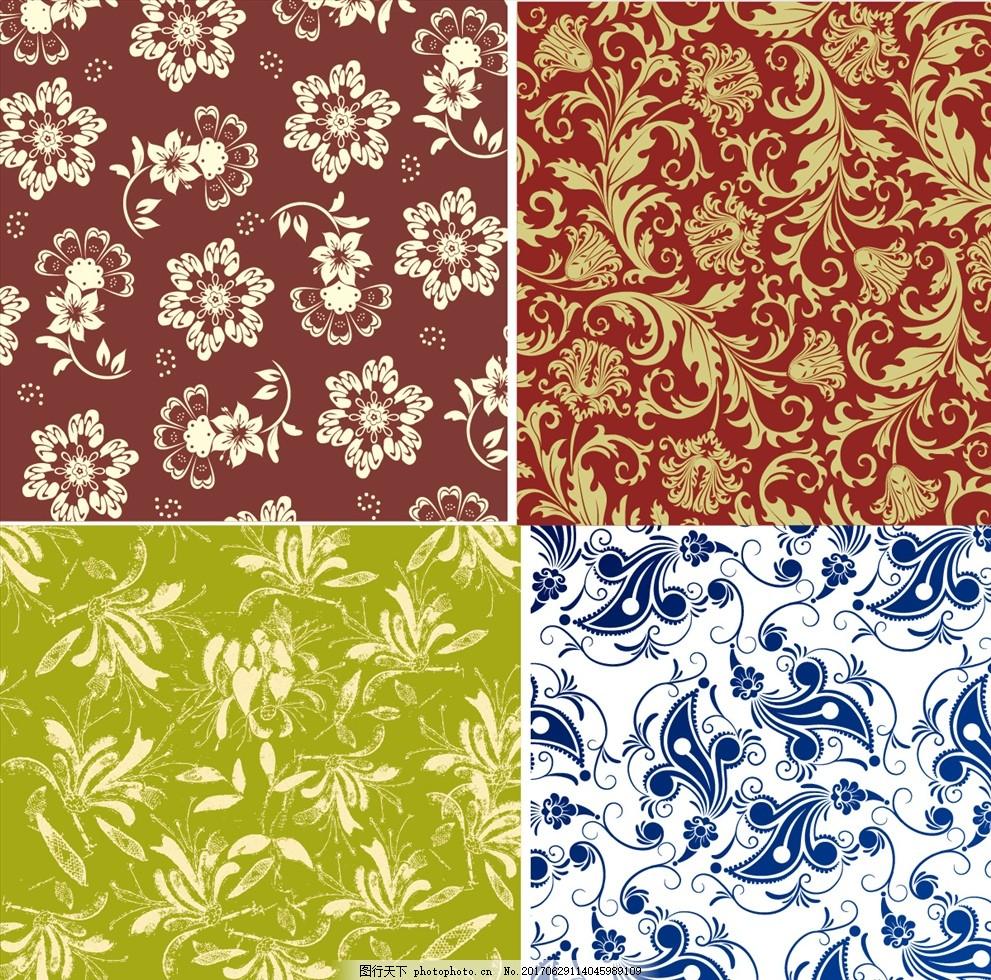 欧式花纹花边墙纸壁画 家纺四件套 四方连续 定位印花 面料图案设计