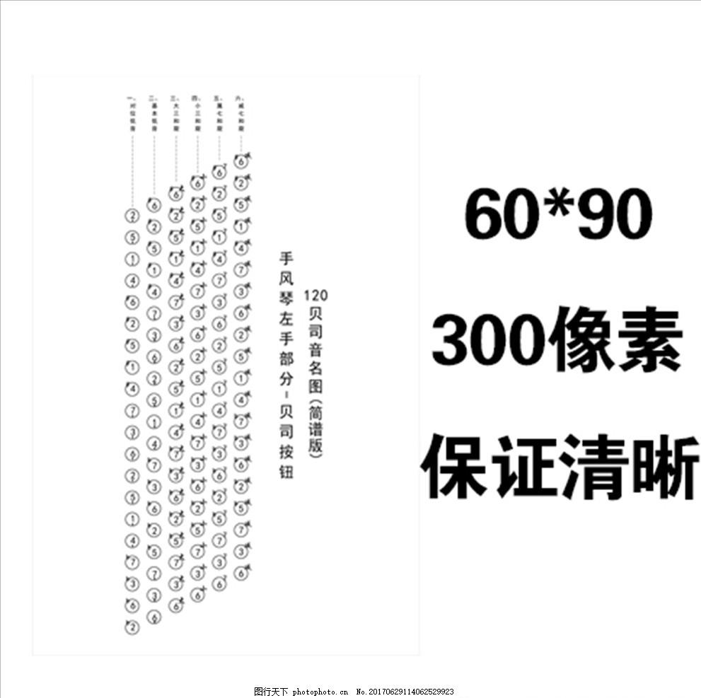 120贝斯简谱 左手按钮 音名图 手风琴 广告设计 展板模板图片