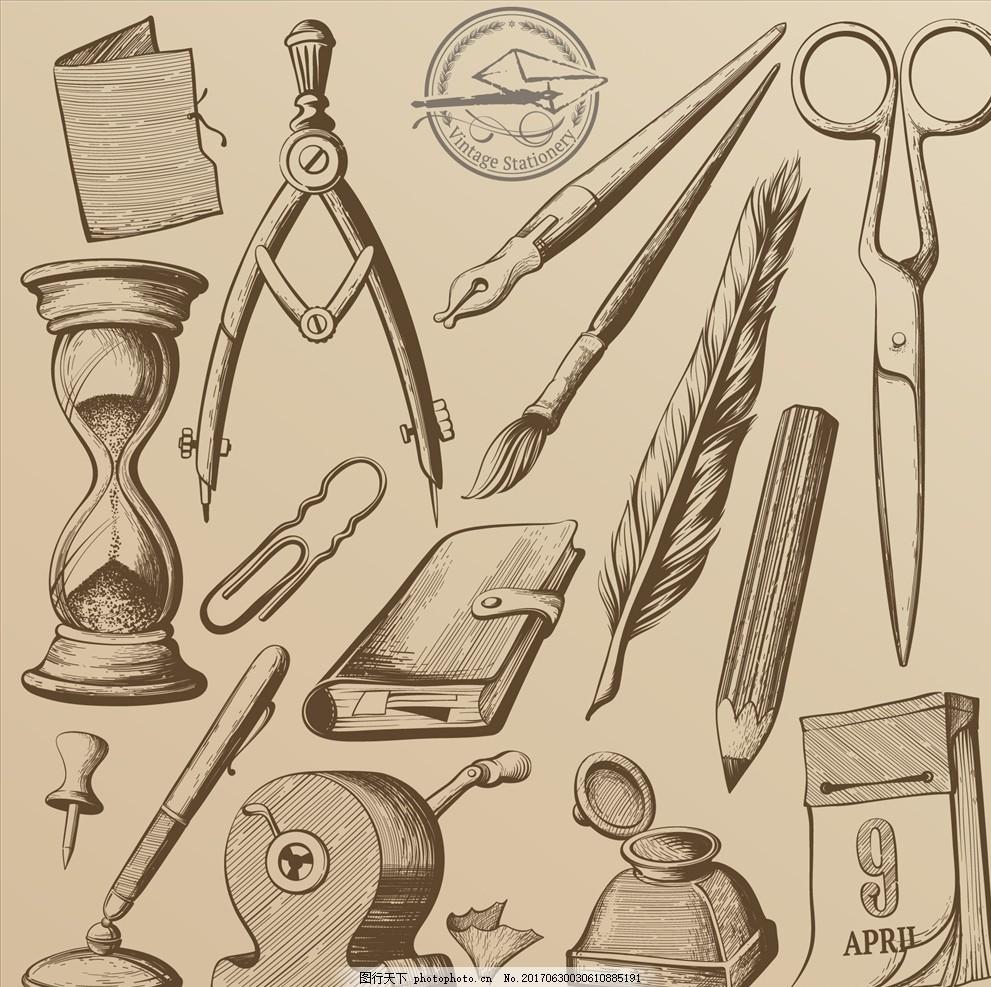 手绘线描复古工具矢量图下载