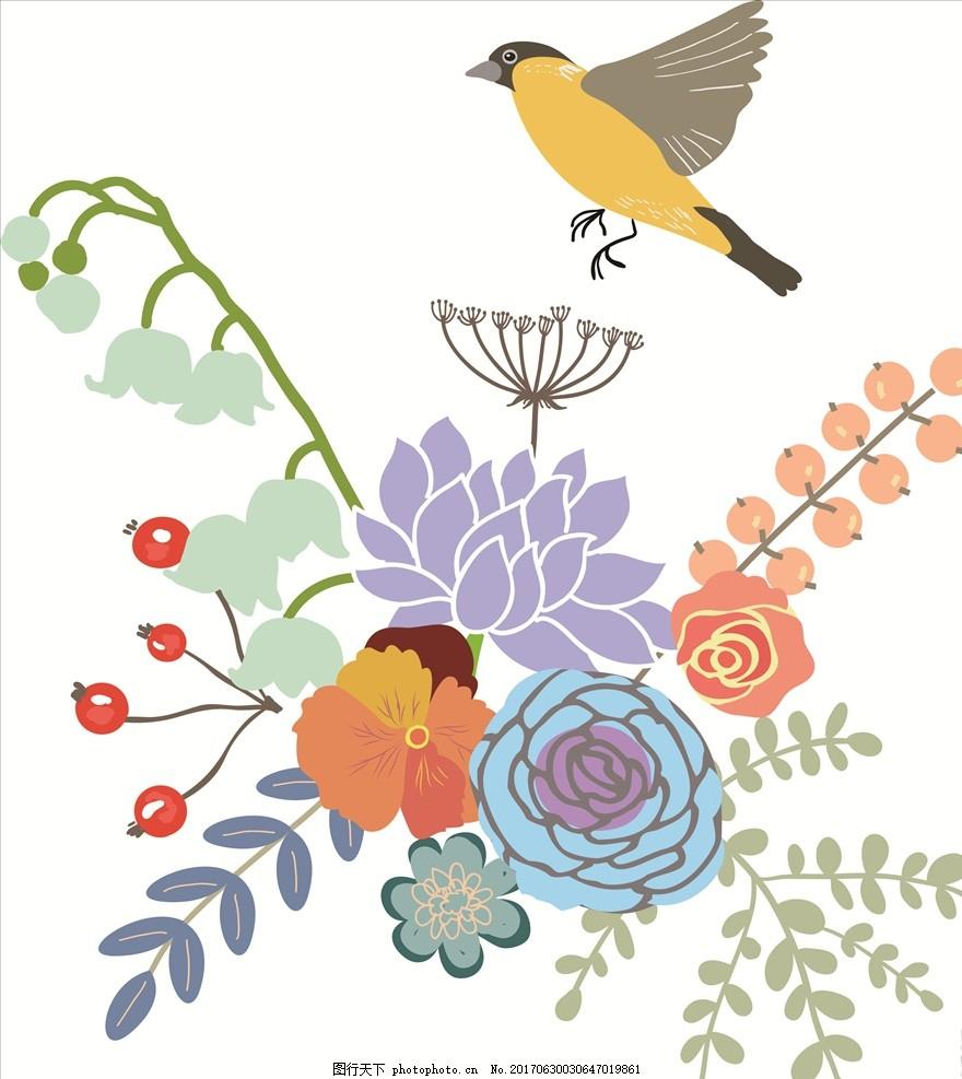 手绘卡通飞鸟花朵花卉图案