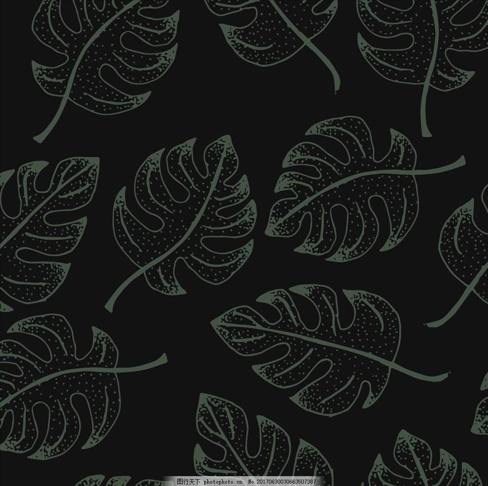 图案 树叶 绿叶 叶子 热带植物 龟背竹 手绘树叶 线描树叶 四方连续底