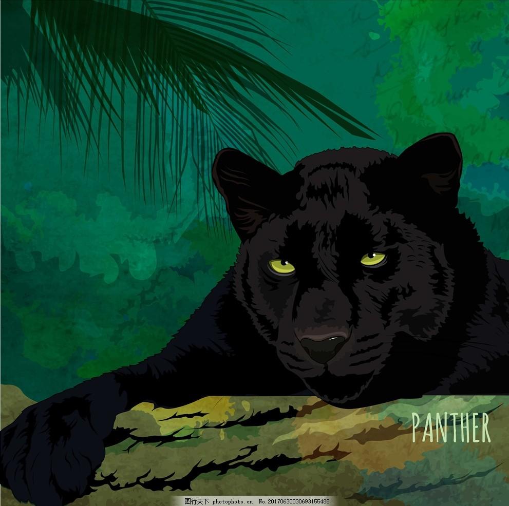面料印花 布料印花 贴纸图案 丛林 森林 豹子 黑豹 手绘豹子 手绘动物