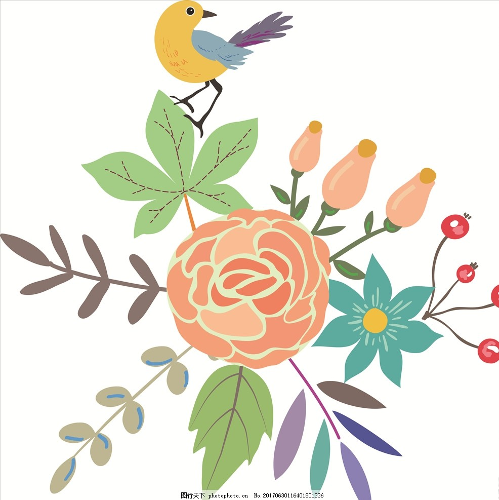 手绘卡通小鸟花朵花卉矢量图 花 小花 手绘花朵 植物 花朵花卉 植物