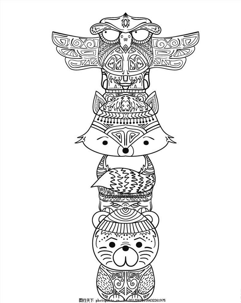 贴纸图案 卡通动物 手绘动物 尼玛堆 猫头鹰 手绘猫头鹰 狐狸 线描