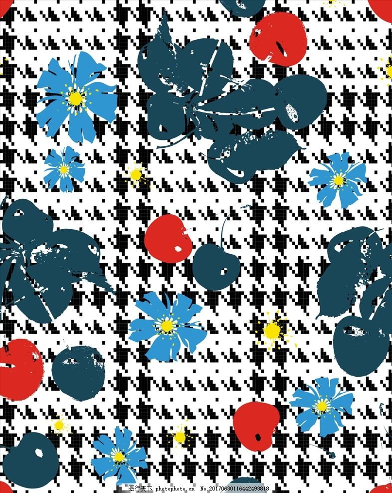 手绘花朵花卉四方连续底纹 小花 植物 植物花朵 绿叶 勾花 叶子