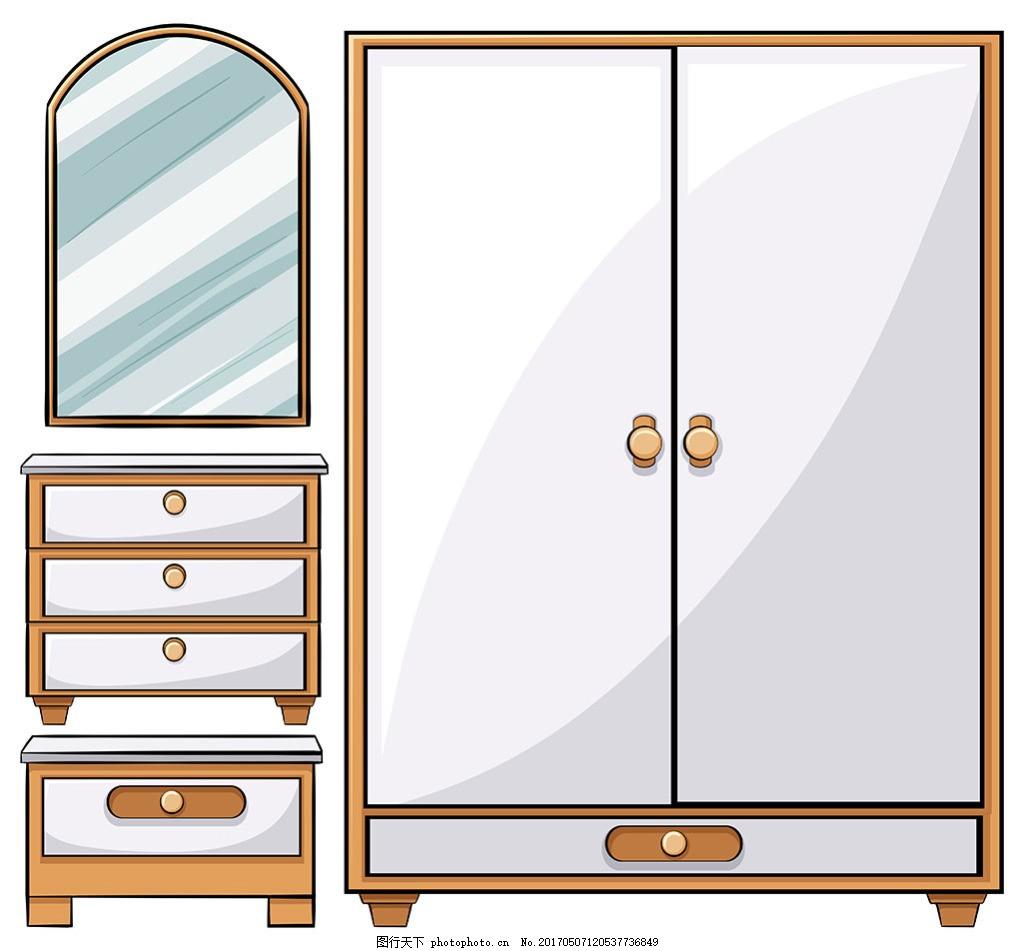 手绘简约家具元素矢量插图,家具图标,家居图标,家具广告,办公家具,家具全套,网页插图