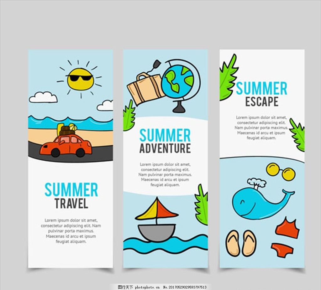 三款手绘夏季旅行海报,夏天,鱼,海螺,鲨鱼,海豚,鲸鱼